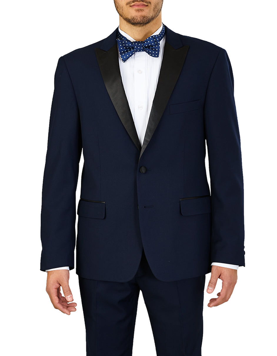 Mens Slim Fit 2 Button Midnight Blue Tuxedo - Wedding - Prom