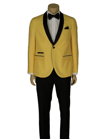 Mens Slim Fit 1 Button Shawl Lapel Prom Tuxedo in Yellow