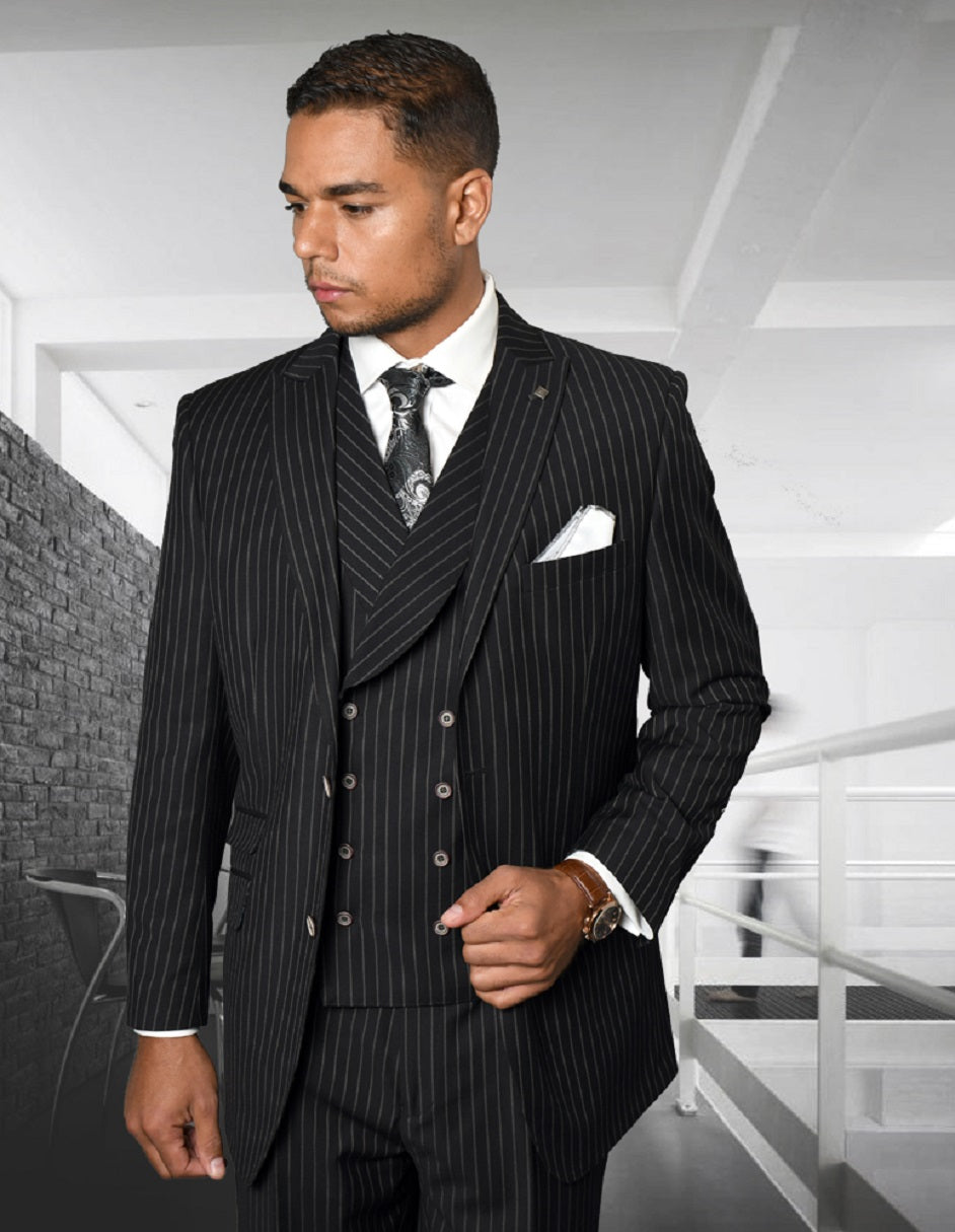 Mens Gangster Pinstripe 2 Button Double Breasted Vest Suit in Black
