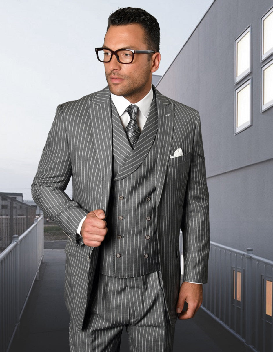 Mens Gangster Pinstripe 2 Button Double Breasted Vest Suit in Grey