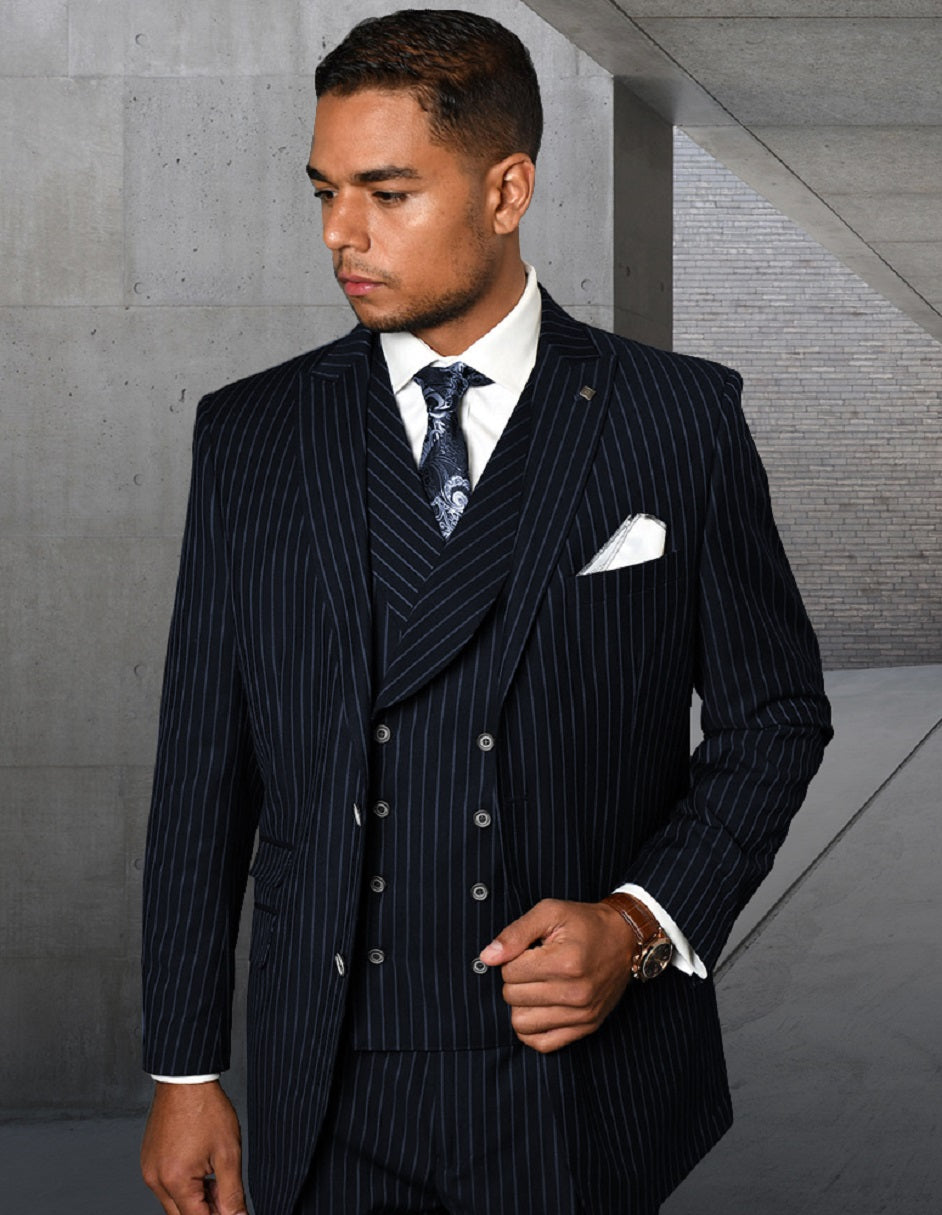 Mens Gangster Pinstripe 2 Button Double Breasted Vest Suit in Navy