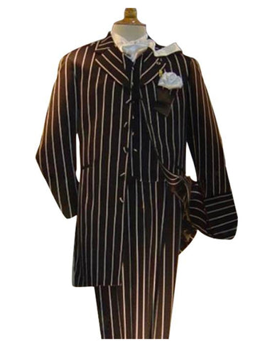 Mens Vested Gangster Bold Pinstripe Zoot Suit in Black