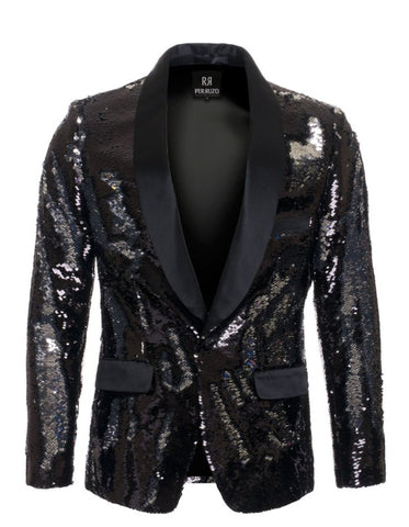 1 Button Reversible Sequin Blazer In Black and Silver