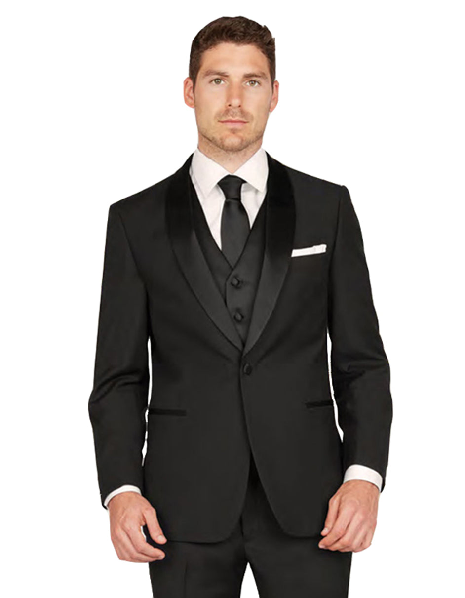 Mens Vested One Button Shawl Lapel Tuxedo in Black