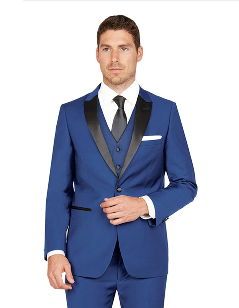 Mens Vested One Button Peak Lapel Tuxedo in Midnight Blue