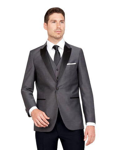 Mens Vested One Button Peak Lapel Tuxedo in Charcoal Grey
