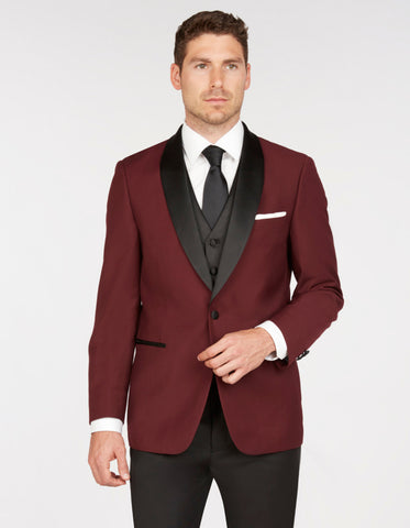 Mens Vested One Button Shawl Lapel Prom Tuxedo in Burgundy
