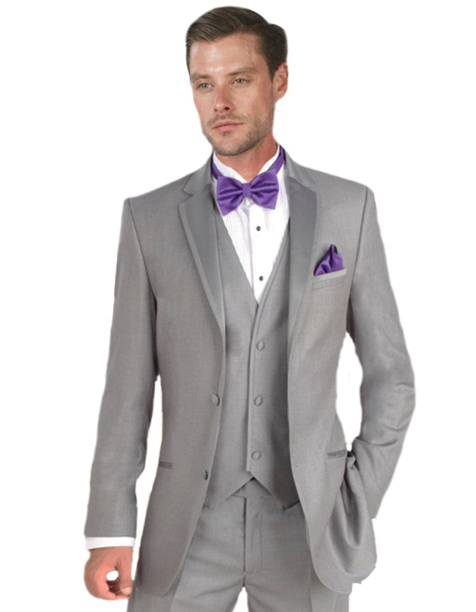 Mens Vested Satin Trim Wedding Tuxedo in Light Grey