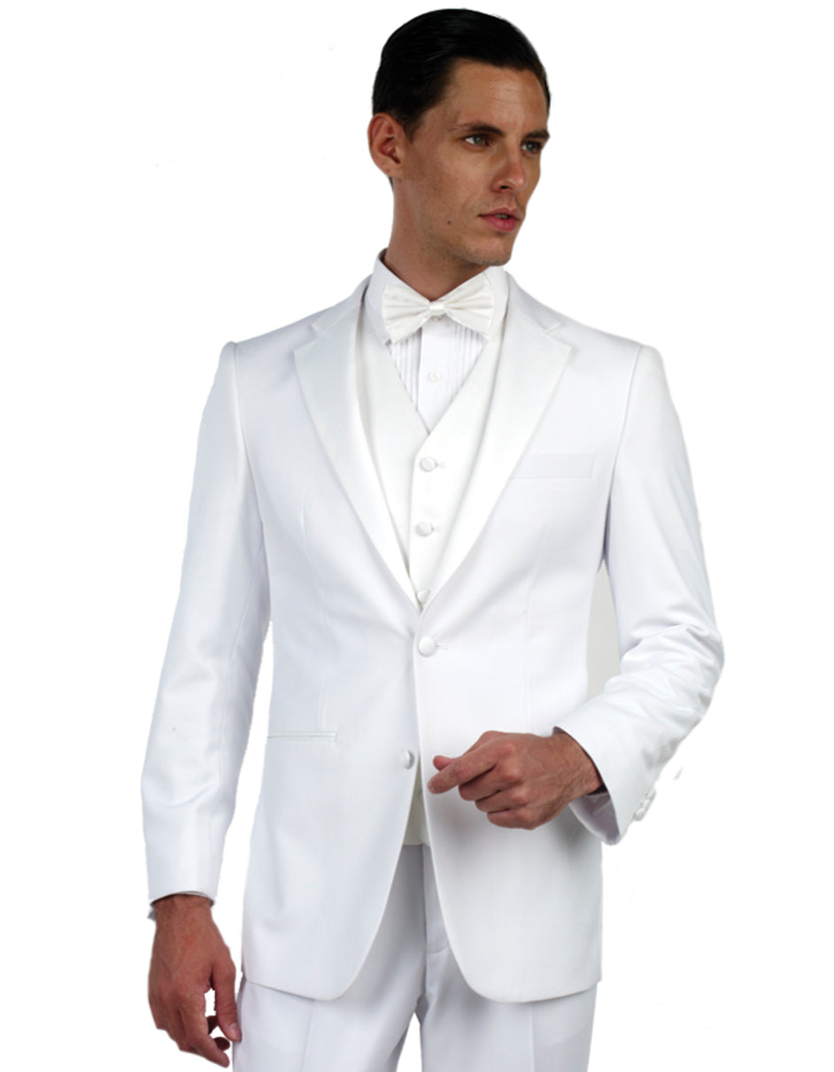 Mens Vested Slim Fit White Tuxedo