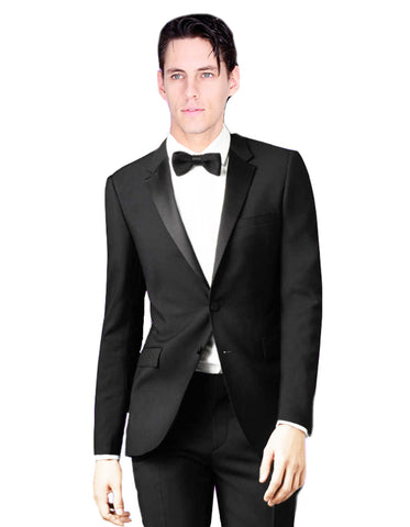 Mens 2 Button Skinny Fit Wool Prom Tuxedo in Black