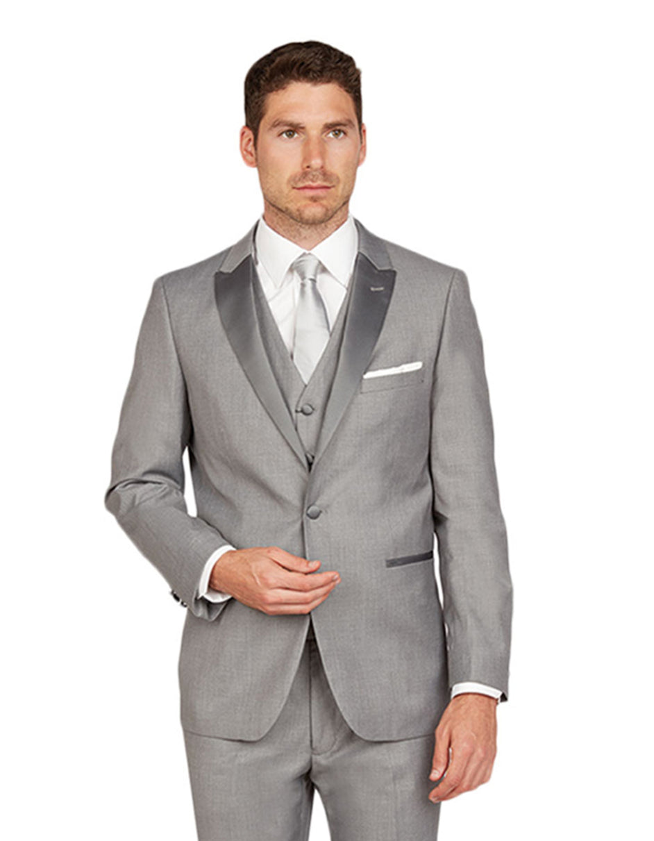Mens Vested One Button Peak Lapel Tuxedo in Light Grey