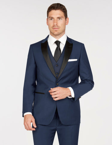 Mens Vested One Button Peak Lapel Tuxedo in Navy Blue