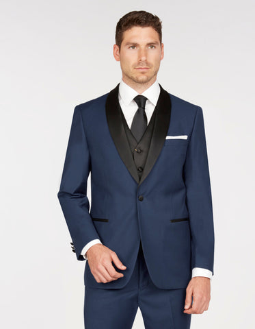 Mens Vested One Button Shawl Lapel Tuxedo in Navy & Black