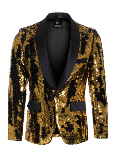 1 Button Reversible Sequin Blazer In Gold and Black