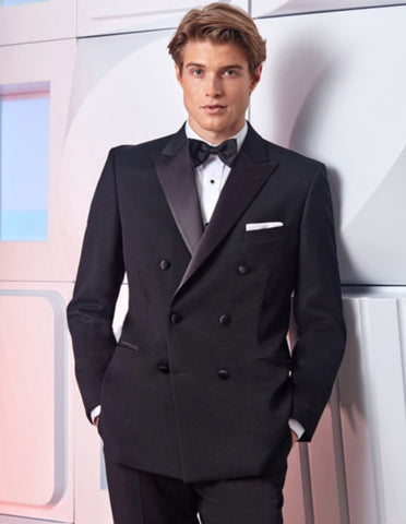 Mens Designer Double Breasted Wool Tuxedo in Black