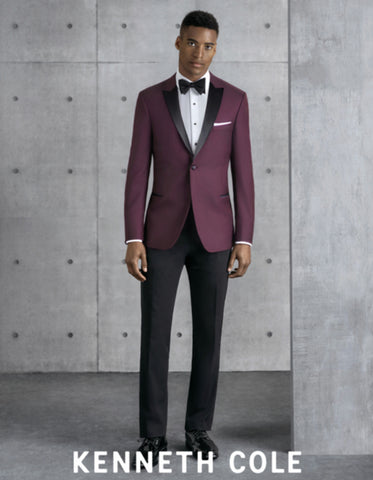 Mens Slim Fit One Button Peak Tuxedo Burgundy