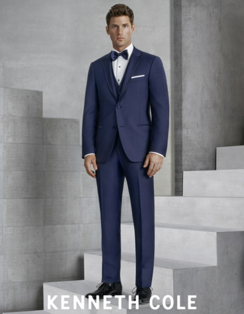 Mens Vested Slim Fit Two Button Trim Notch Tuxedo Navy