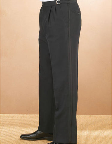 Mens Double Pleated Traditional Fit Adjustable Tuxedo Pant