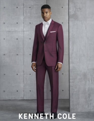 Mens Vested Slim Fit Two Button Trim Notch Tuxedo Burgundy