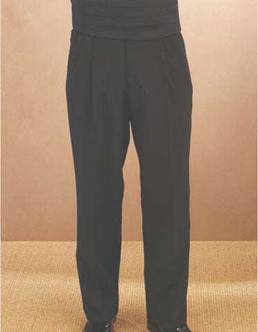 Mens Single Pleat Traditional Fit Tuxedo Pant in Black
