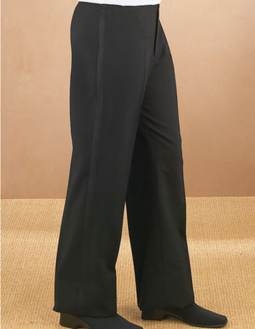 Mens Flat Front Modern Fit Tuxedo Pant in Black