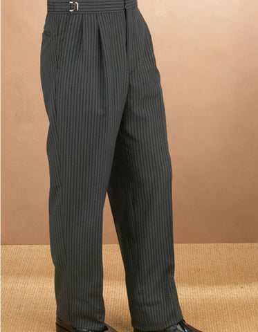 Mens Double Pleat Traditional Fit Tuxedo Pant in Grey Stripe