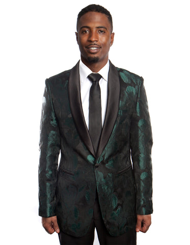 Emerald Green Metallic Floral Blazer