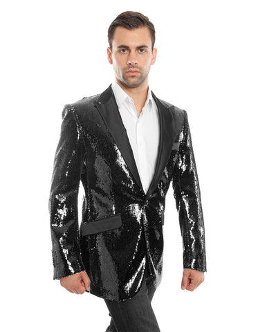 Black Sequin Peak Blazer