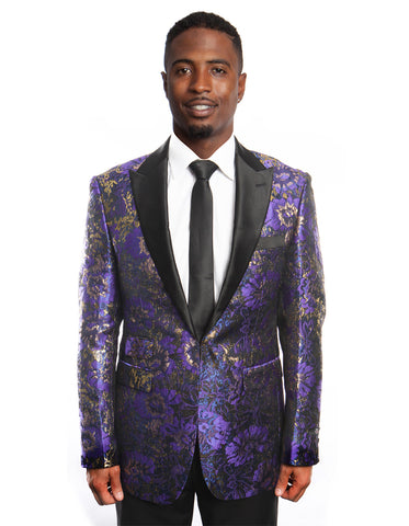 Mens Purple and Gold Floral Tuxedo Blazer