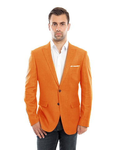 Mens 2 Button Orange Peak Lapel Linen Blazer