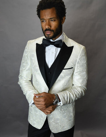 Mens Shiny Flower Pattern Paisley Tuxedo in Ivory