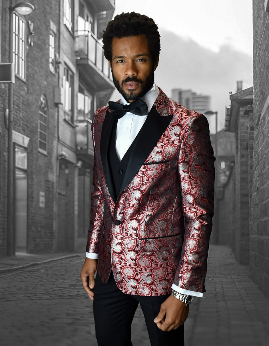 Mens Shiny Flower Pattern Paisley Tuxedo in Red