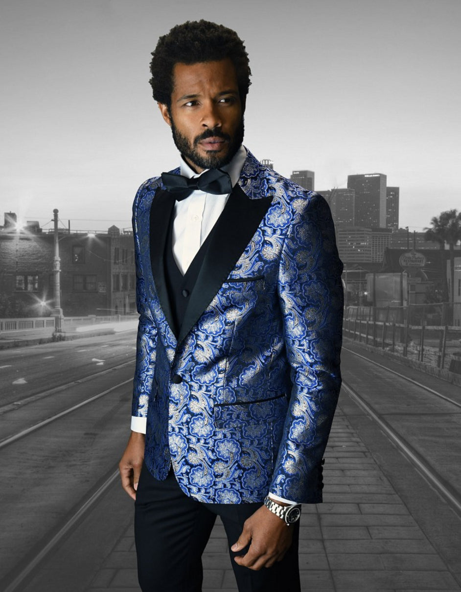 Mens Shiny Flower Pattern Paisley Tuxedo in Royal Blue