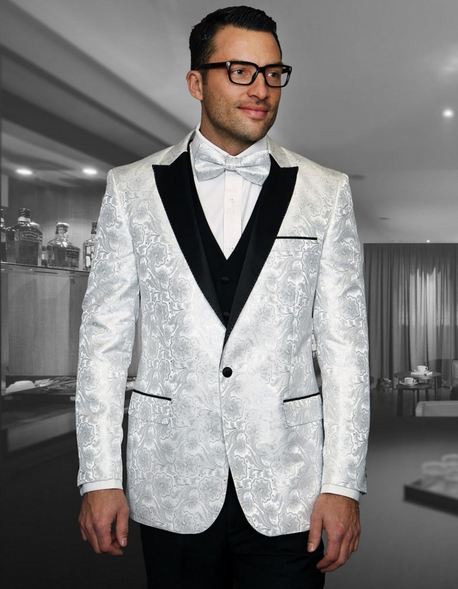Mens Shiny Flower Pattern Paisley Tuxedo in White