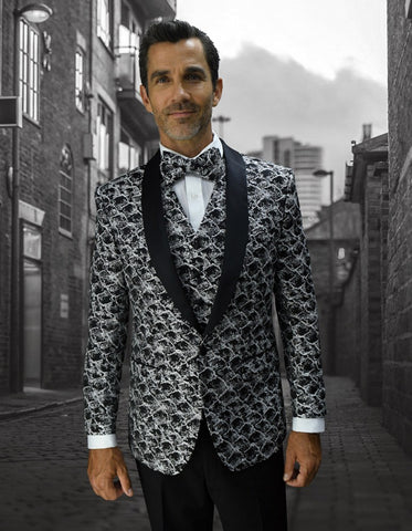 Mens Geometric Wave Paisley Tuxedo in Silver Grey & Black