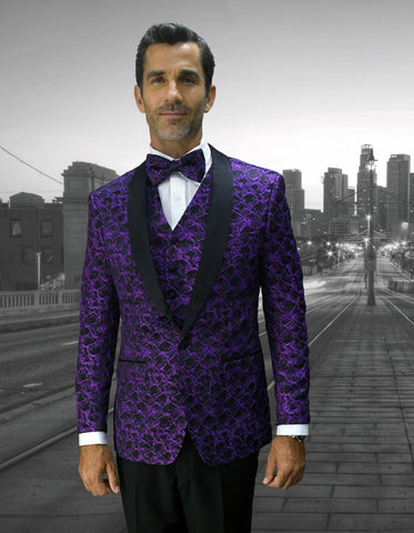 Mens Geometric Wave Paisley Tuxedo in Purple & Black