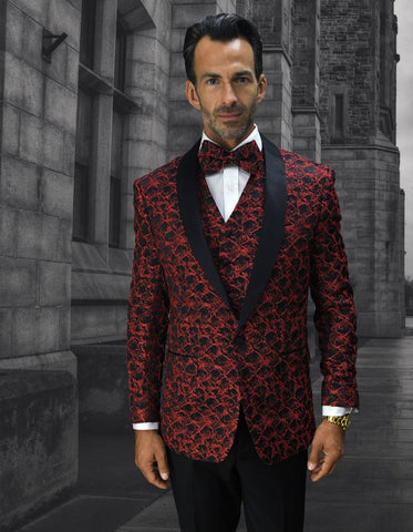 Mens Geometric Wave Paisley Tuxedo in Red & Black