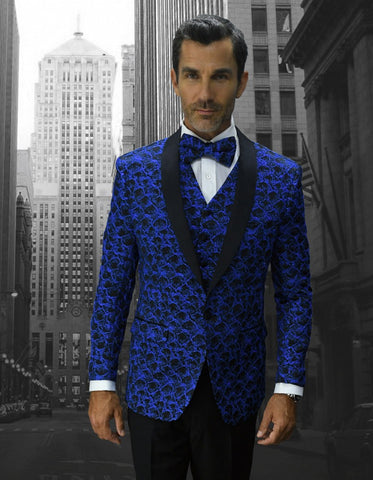 Mens Geometric Wave Paisley Tuxedo in Royal Blue & Black