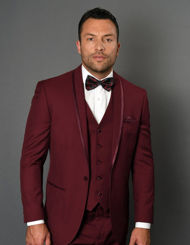 Mens One Button Satin Trim Shawl Tuxedo in Burgundy Wool