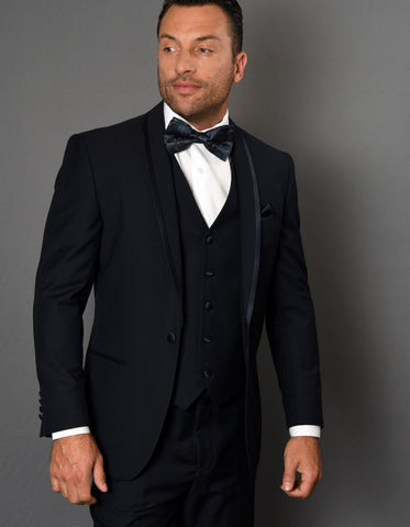 Mens One Button Satin Trim Shawl Tuxedo in Navy Wool