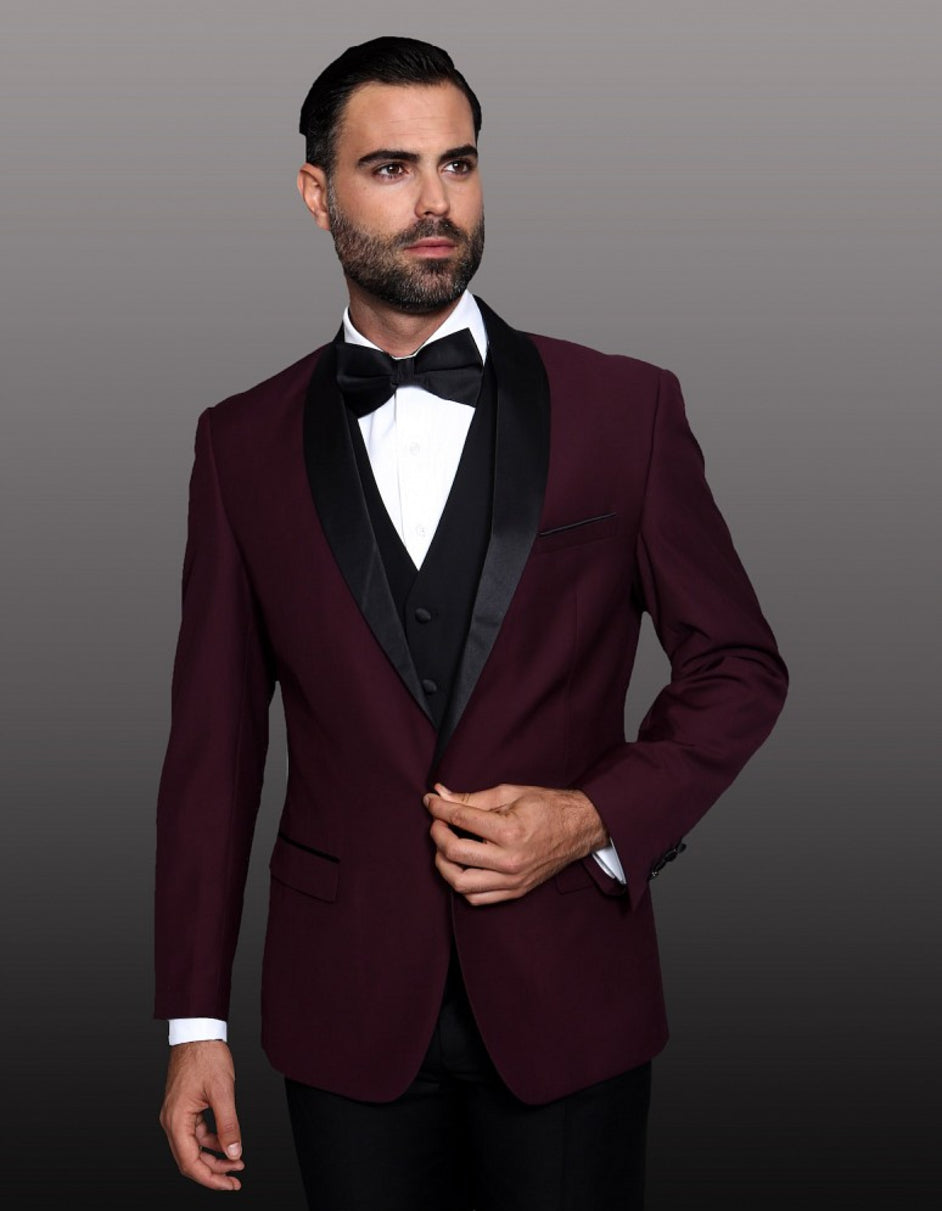 Mens 1 Button Shawl Lapel Wool Dinner Jacket in Burgundy