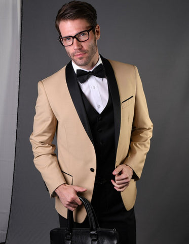 Mens 1 Button Shawl Lapel Wool Dinner Jacket in Camel