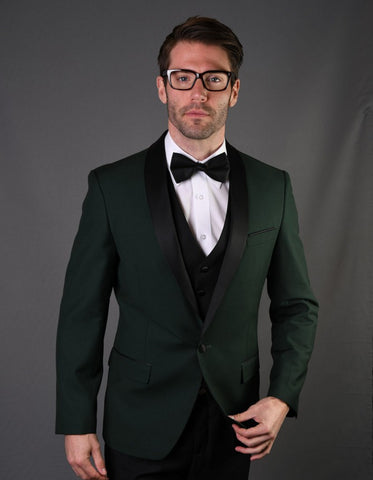 Mens 1 Button Shawl Lapel Wool Dinner Jacket in Hunter Green