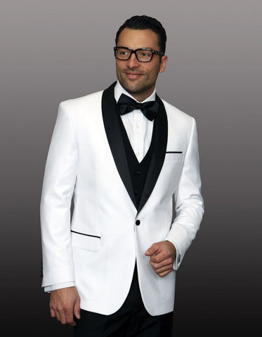 Mens 1 Button Shawl Lapel Wool Dinner Jacket in White & Black