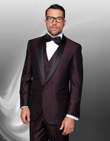 Mens 1 Button Shawl Lapel Vested Wool Wedding | Prom Tuxedo in Burgundy