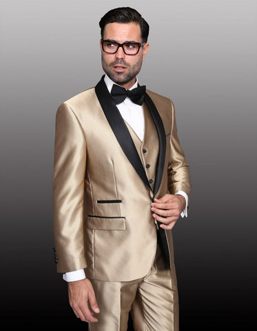 Mens 1 Button Shawl Lapel Vested Wedding | Prom Tuxedo in Gold Sharkskin
