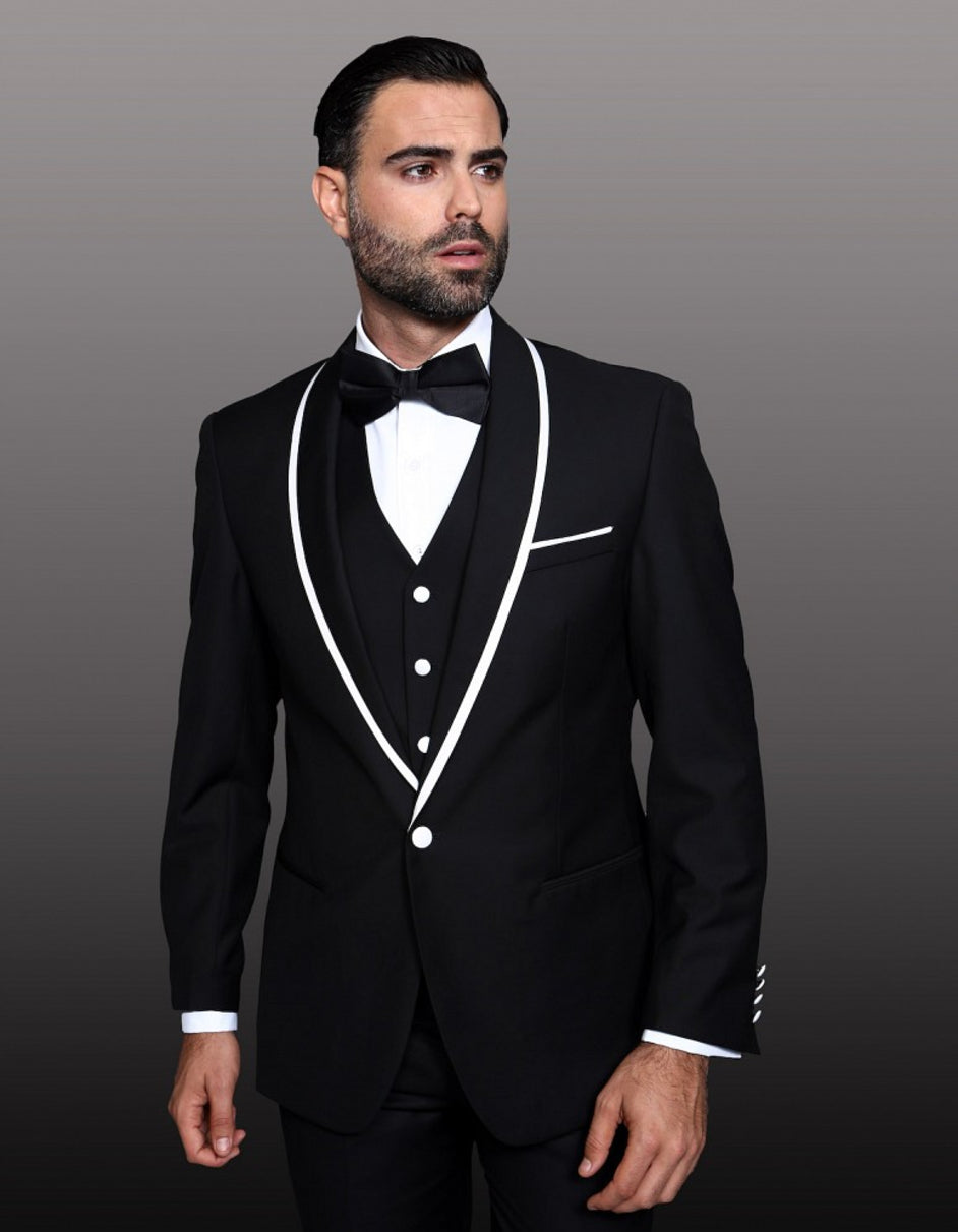 Mens One Button Satin Trim Shawl Tuxedo in Black & White
