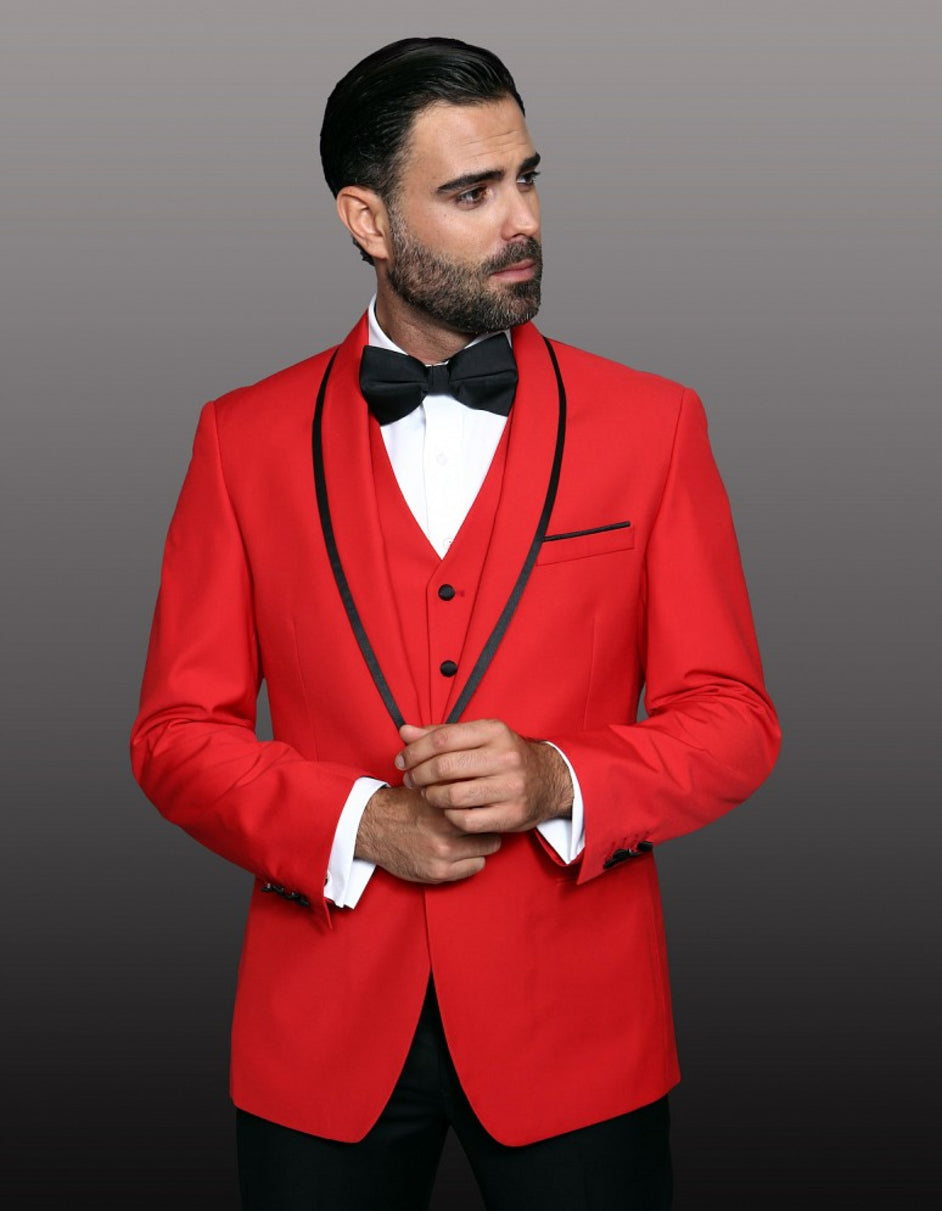Mens One Button Satin Trim Shawl Tuxedo in Red & Black