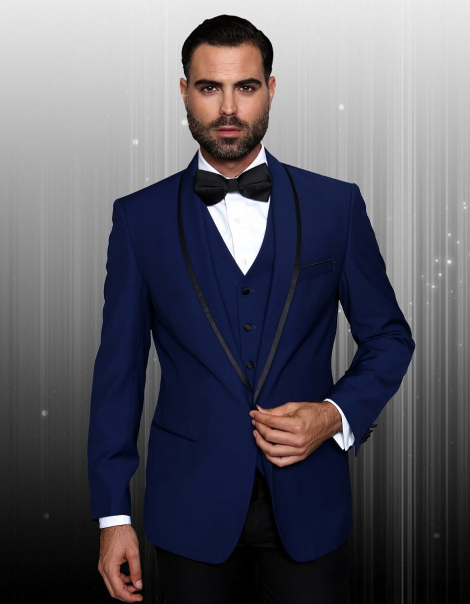 Mens One Button Satin Trim Shawl Tuxedo in Sapphire Blue & Black
