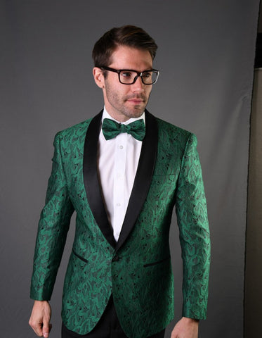 Mens Geometric Leaf Pattern Tuxedo in Green